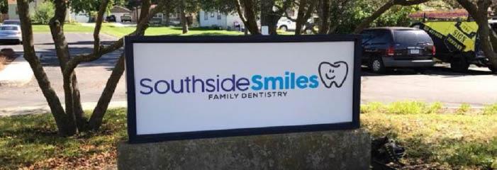 Southside Smiles Family Dentistry sign outside the dentist office