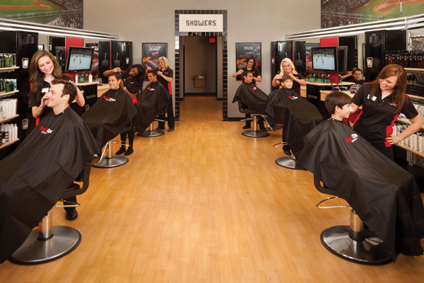 Men's hair cut in Fox Point, WI with Flat Screen TVs