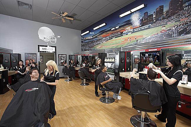 Sport Clips Haircuts for men and boys scalp massage.