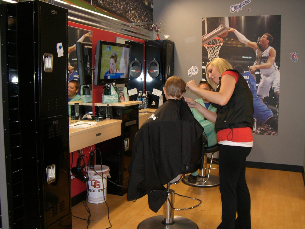 Sport Clips child haircut in Timonium, MD.