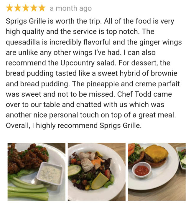 Sprig Grill reviews, online coupons
