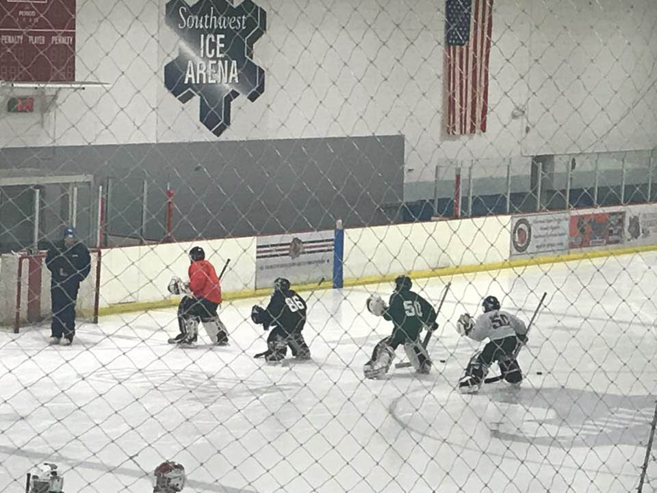 Goalies get a practice skate at St Jude's Hockey Club.