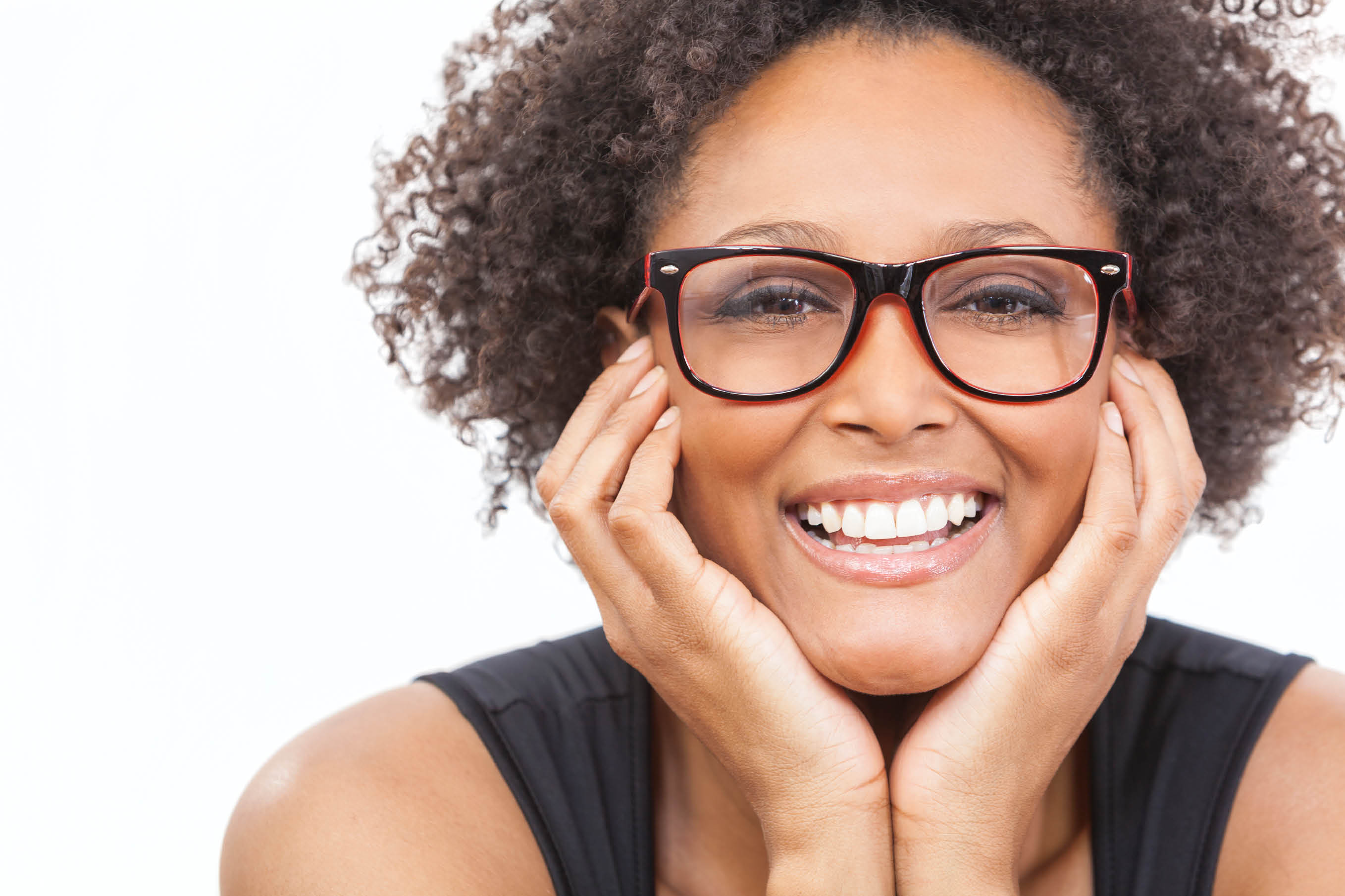 black woman with glasses