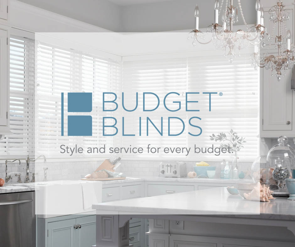Budget Blinds logo and kitchen shutters