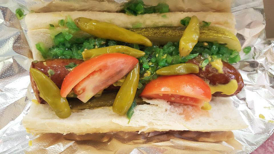 It's gotta be Chicago style hot dogs at Submarine City.