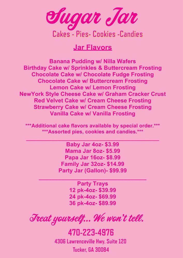 Menu of jar cake flavors, desserts and treats in Tucker, Georgia