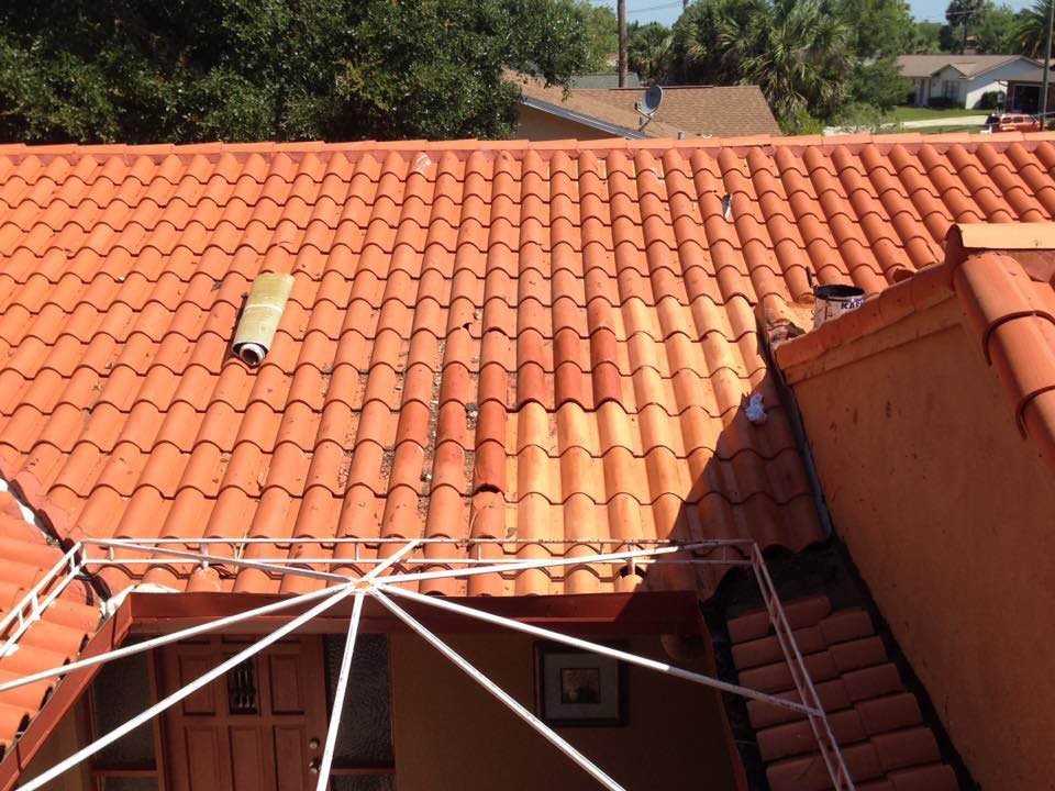 New orange tile roof