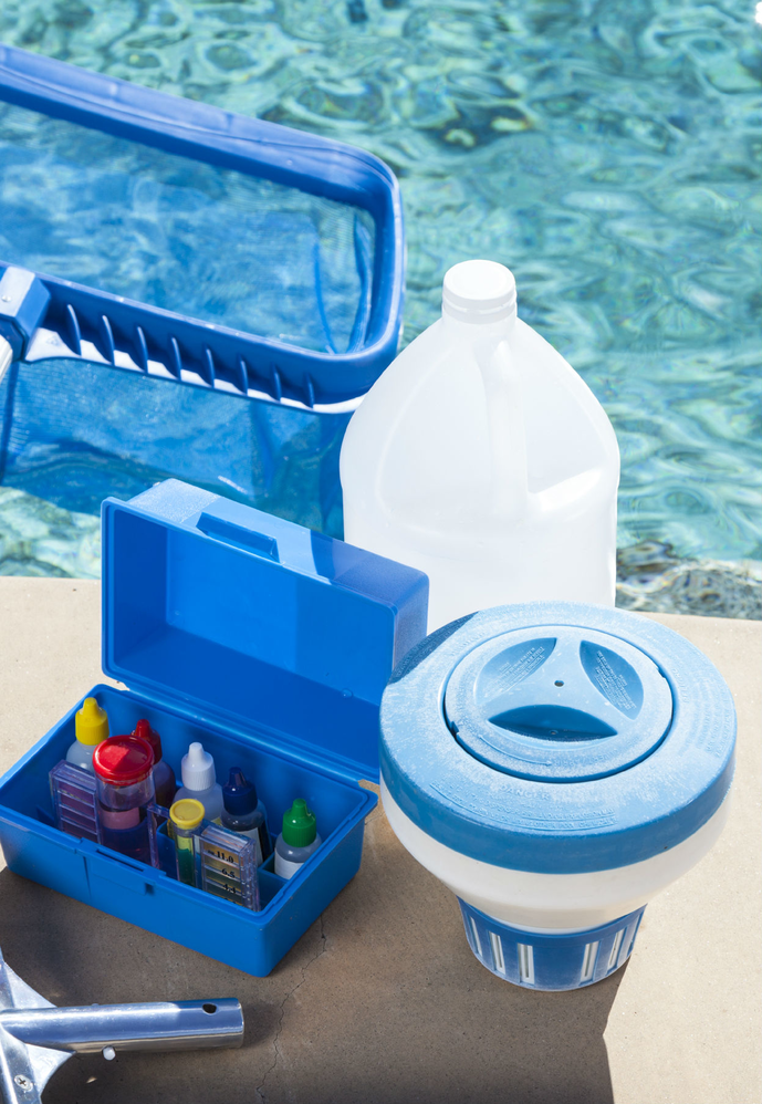 water testing supplies; chlorine; salt