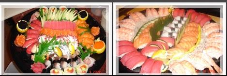 Sushi platter full of fresh salmon, trout and more.