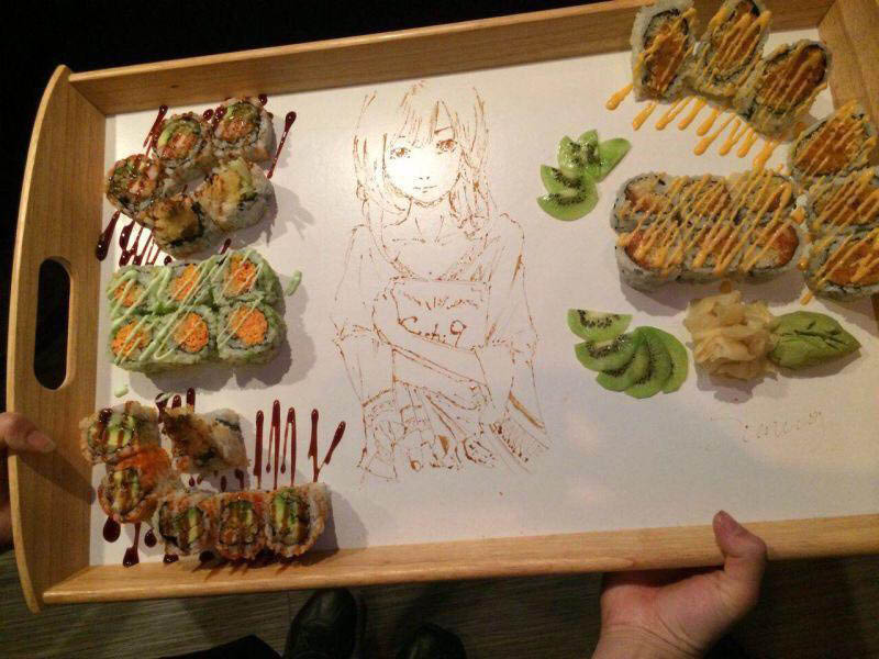 Sushi and anime with wasabe near Jersey Village