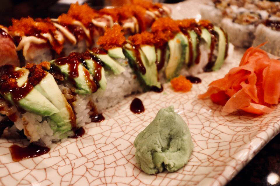 sushi with avocado, wasabi and more