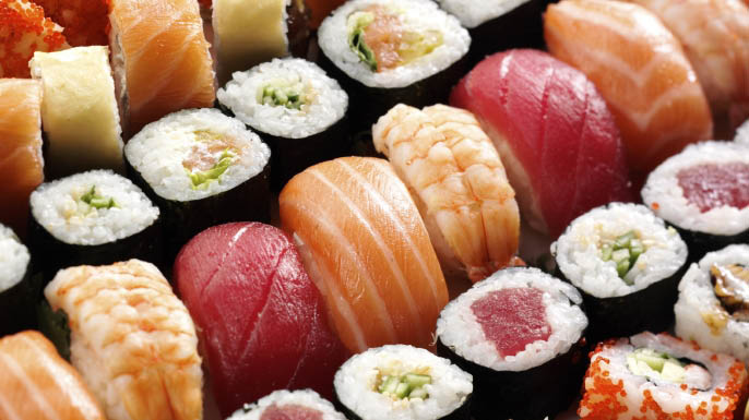 Fresh sashimi tuna, salmon, white fish and other fresh daily catches