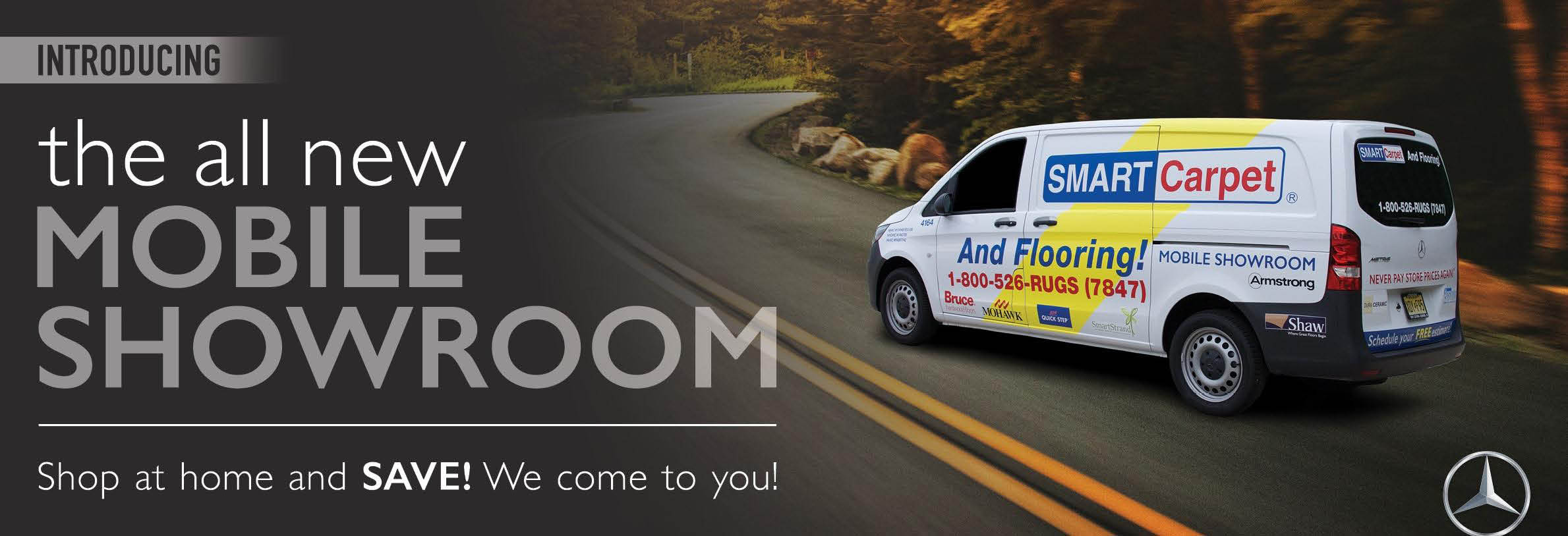 Shop at home carpet and flooring with Smart Carpet's Mobile Showroom