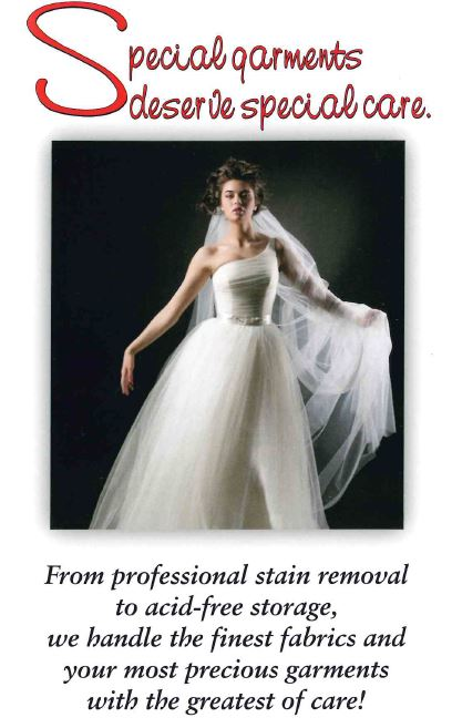 We specialize in wedding dresses and gown dry cleaning and stain removal