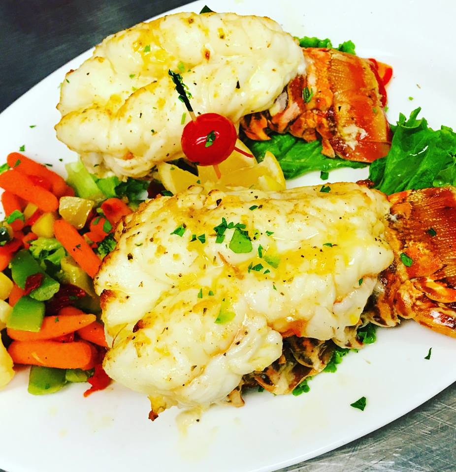 Succulent double lobster tails served at Prime Time restaurant.
