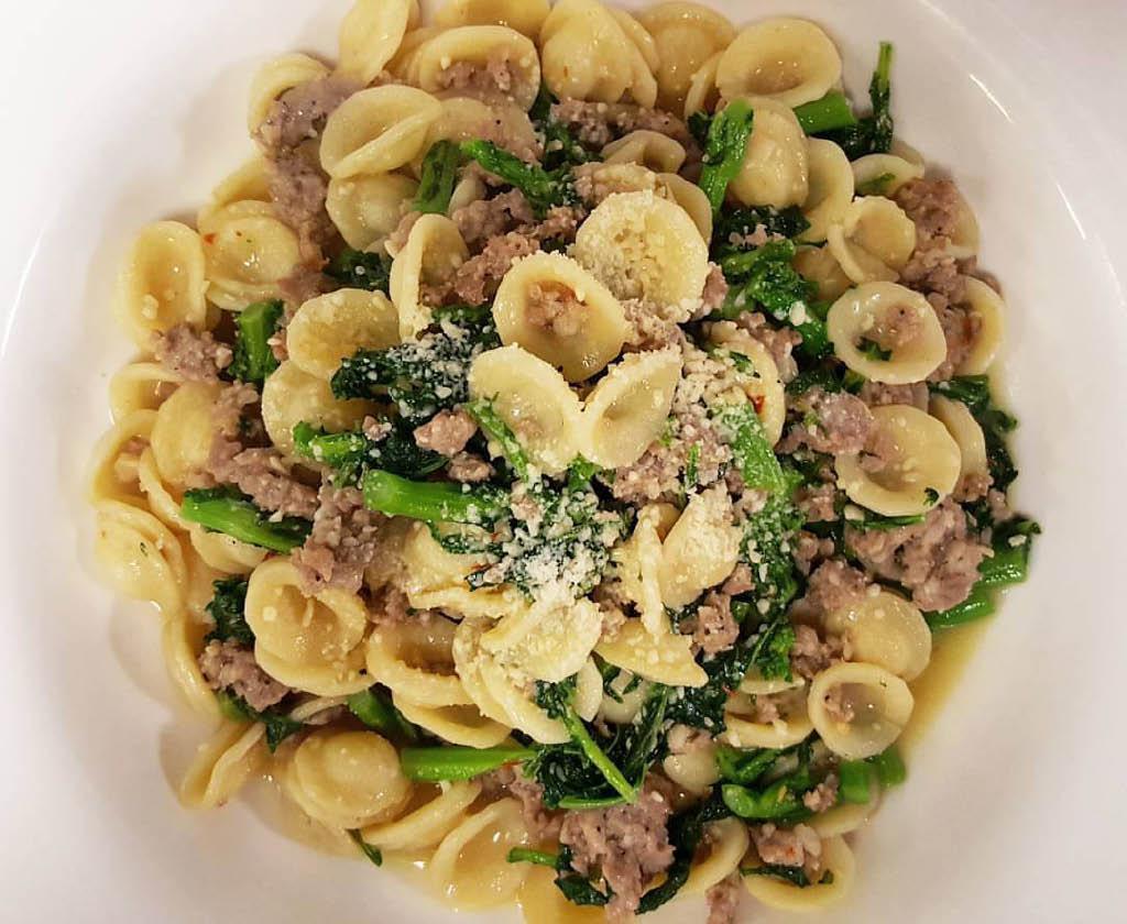 Orecchiette pasta with ground sausage and broccoli