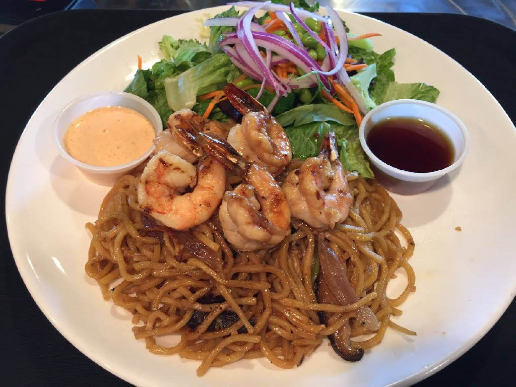 Shrimp over Japanese noodles with side salad and sauce; Teriyaki Grill Ankeny