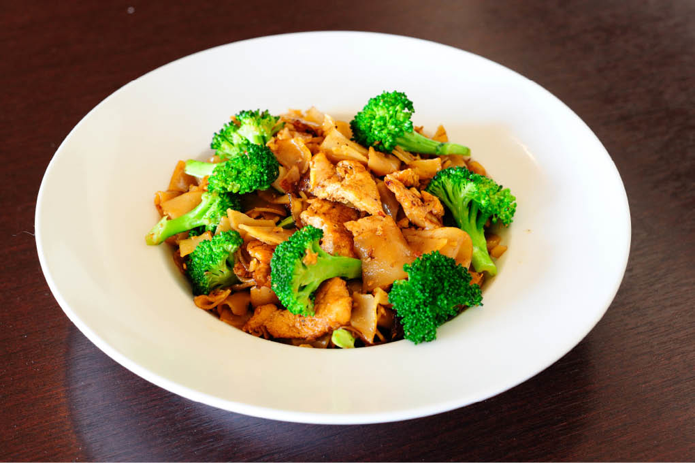 Chicken and broccoli with noodles near Mar Vista