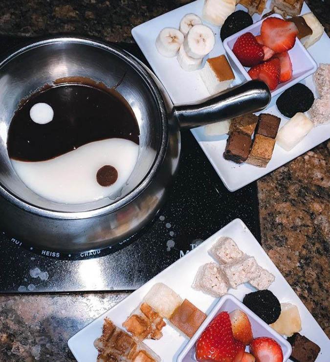 photo relating to Melting Pot Coupons Printable titled The Melting Pot Darien CT Fondue Eating - Fondue Dessert