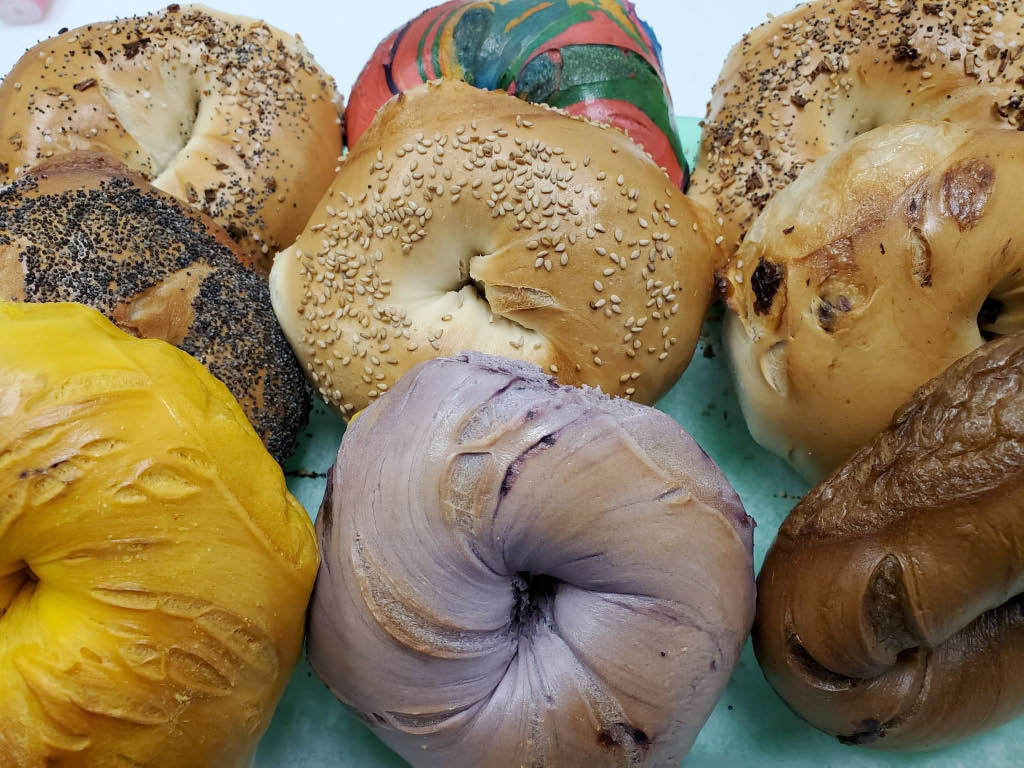 Huge variety of bagels to choose from at The Bagel Place in Mt Arlington NJ