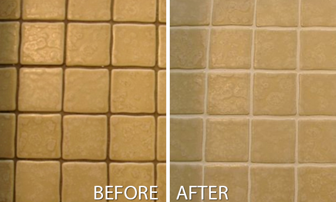 Grout cleaning products work to remove grime