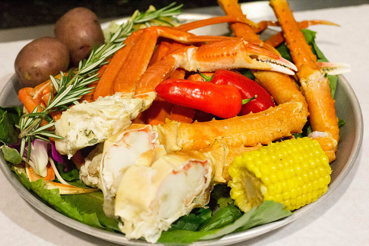 King crab legs and snow crab legs entrée