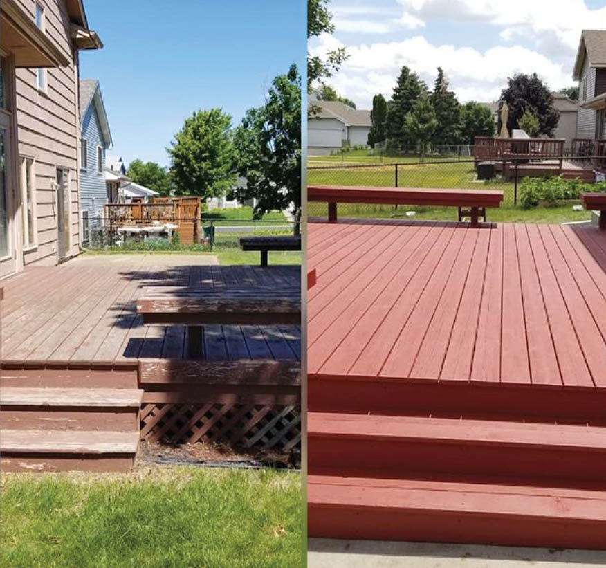 Before and after deck painting near St Paul