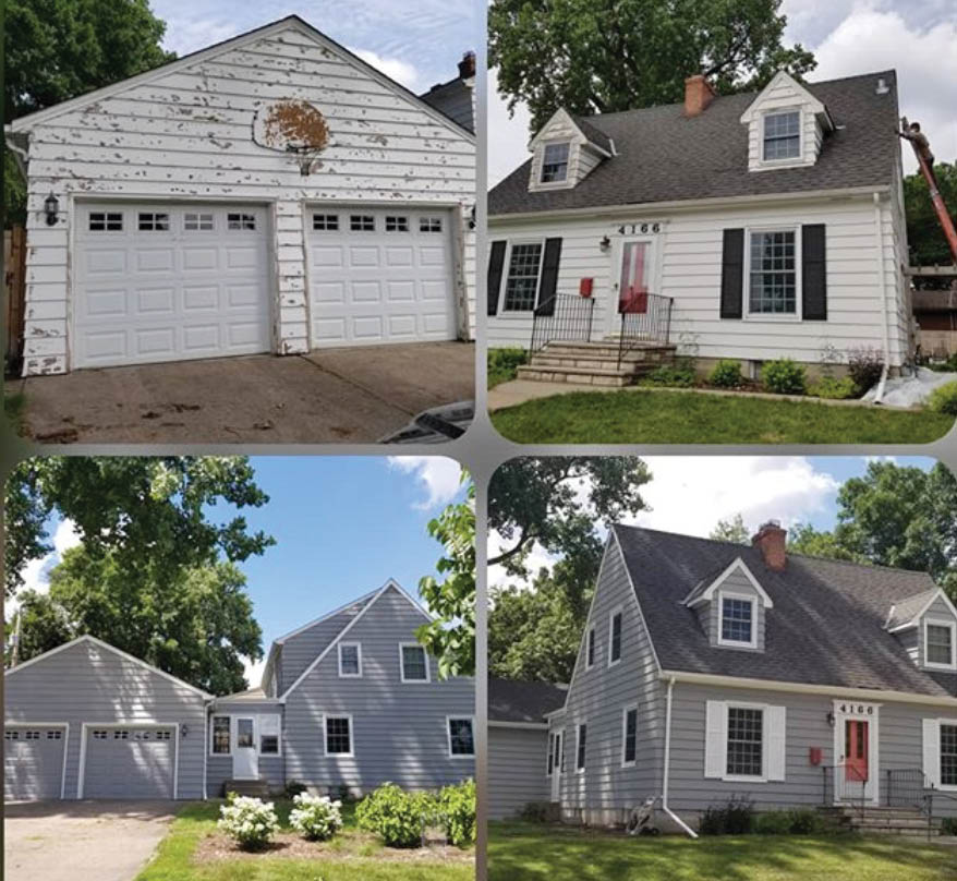 Before and after photos of garage and home exterior painting