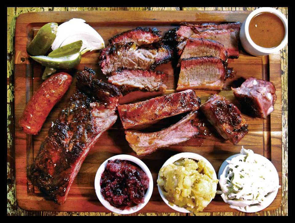 Meat lovers platter at Thirsty Pig BBQ.