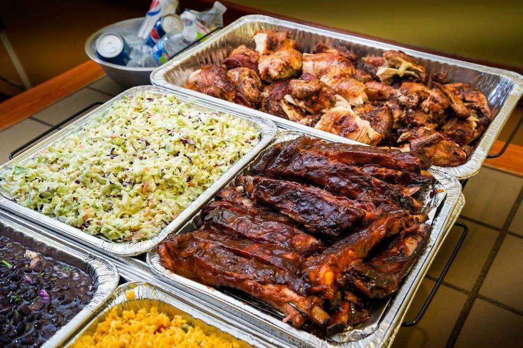 Catering trays from Thirsty Pig BBQ.