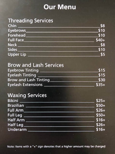 Pricing from royal threading and spa oak Creek wi