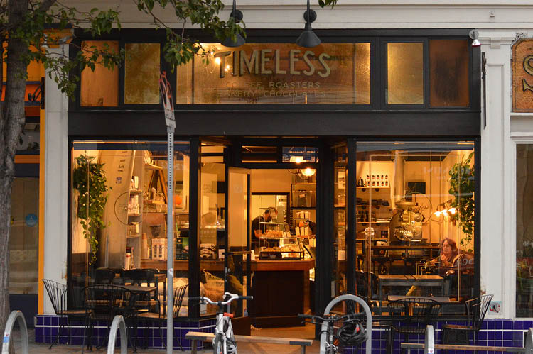 Exterior of Timeless Coffee on Piedmont Avenue in Oakland