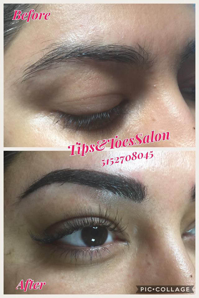 Before and after brow and lash services by Tips & Toes Nail Salon in Urbandale, IA