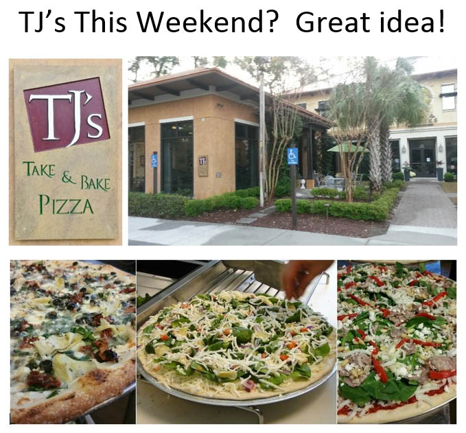 TJ's restaurant frontage and photos of Italian pizza and chilled salad