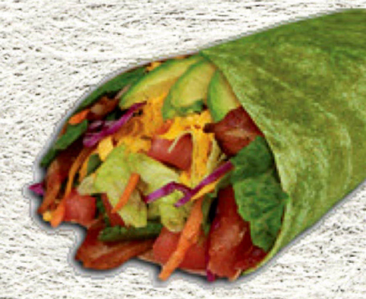 Healthy wraps with fresh meats, cheese and veggies