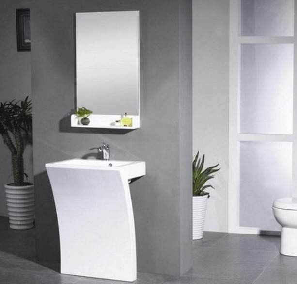 modern white bathroom sink with minimal mirror; bathroom sinks, toilets, mirrors and more.