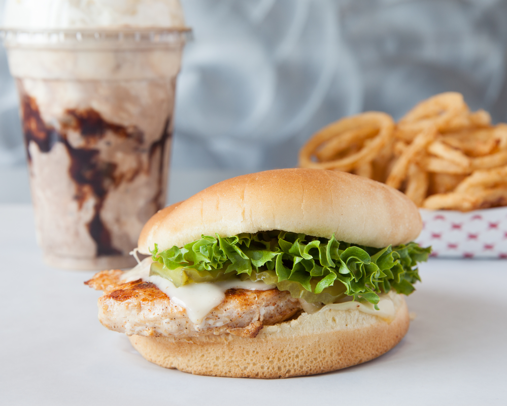 Chicken Sandwich combo plate with French Fries, Shake
