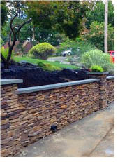Retaining wall created by Top Notch Landscaping in Mt. Arlington NJ