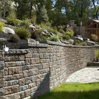 High retention wall and landscaping
