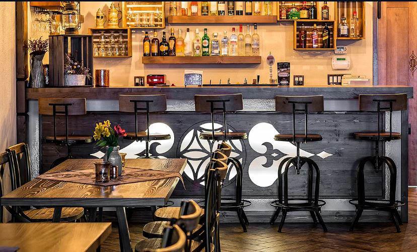 Beautiful wood carved bar at Tradycja restaurant.