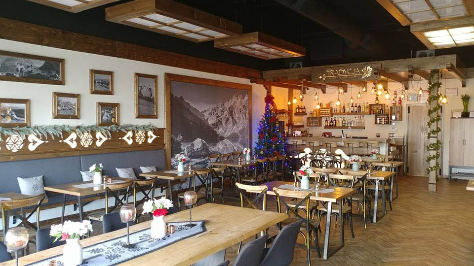 Dining room decorated for Christmas at Tradycja restaurant.