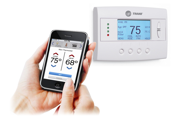 Wireless Trane Thermostat controls.