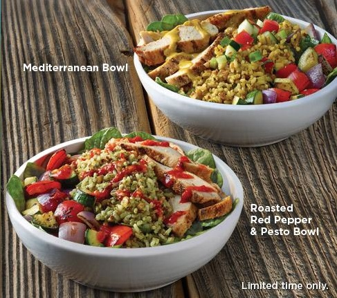 Mediterranean Bowl and Roasted Red Pepper & Pesto Bowl.