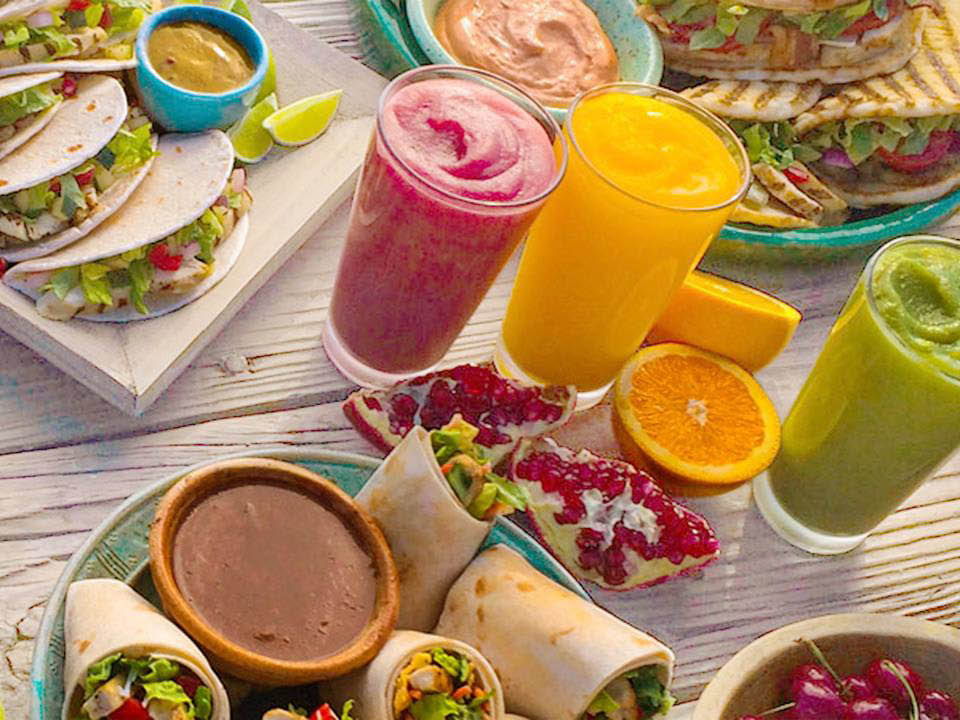 A variety of menu items from Tropical Smoothie