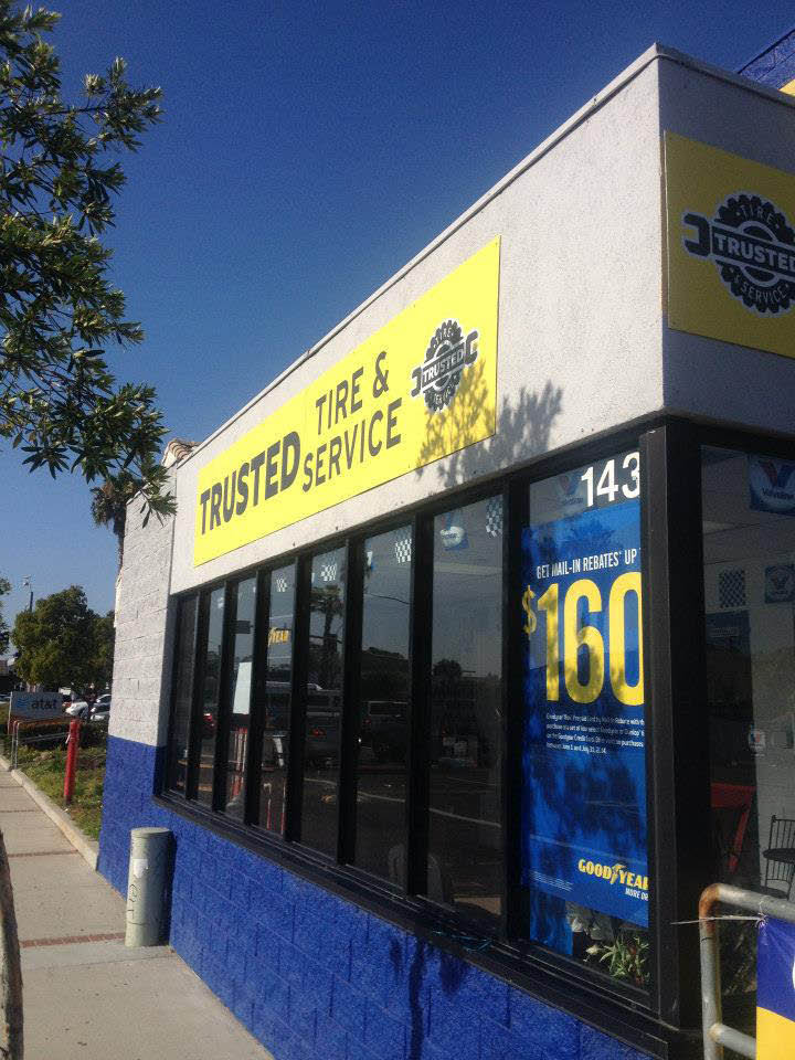 Storefront at Trusted Tires in Cypress, your Goodyear Tire provider