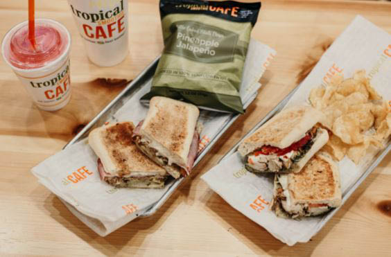 healthy, delicious food for lunch; smoothies and sandwiches