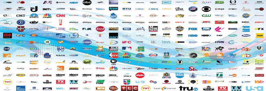 Banner showing many of the TV stations and channels you get with TVizion