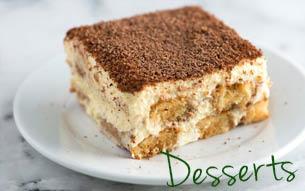 Tuscany Italian Restaurant serves delicious delicant desserts including tiramasu, New York style cheesecake, cannoli cream and Italian creme cake