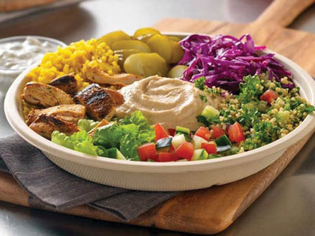 Selection of Mediterranean foods with hummus