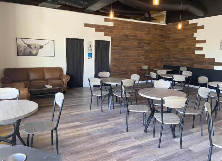 Casual coffee shop interior at Two Baristas and A Brew - Albuquerque